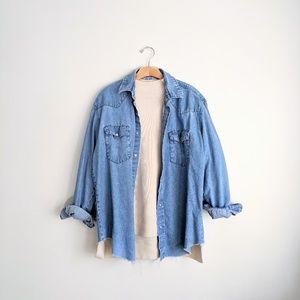 Vtg WRANGLER Blue Denim Jean Pearl Snap Shirt XL